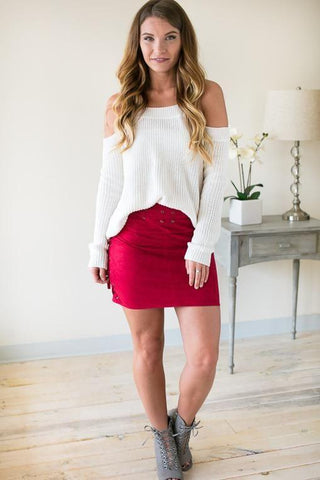 Exquisite Cold Shoulder Sweater - Ivory