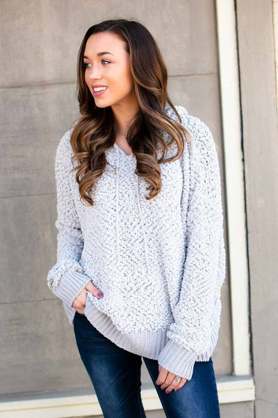 Tops Luxe Popcorn Hoodie Pullover Sweater in Grey - Lotus Boutique