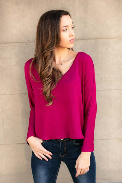Tops Wanna Be Dolman Sleeve Crop Tee in Magenta - Lotus Boutique