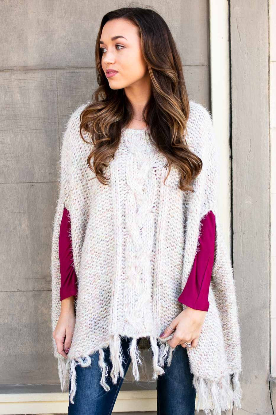 Tops Lucky Charm Sweater Poncho with Fringe - Lotus Boutique