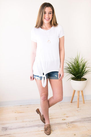 Cute Stuff Knot Front Off White Tee