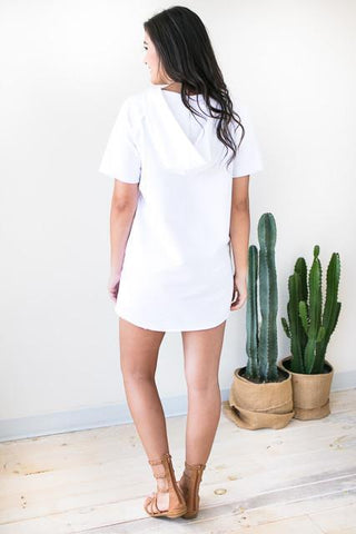 White Washed Hoodie Dress