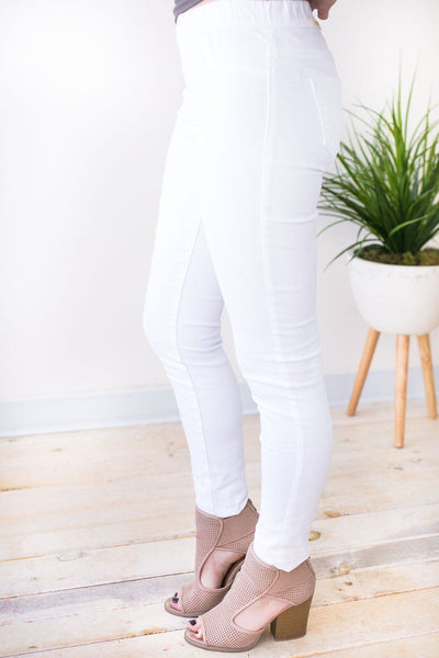 Bottoms Claim to Fame White Jeggings - Lotus Boutique