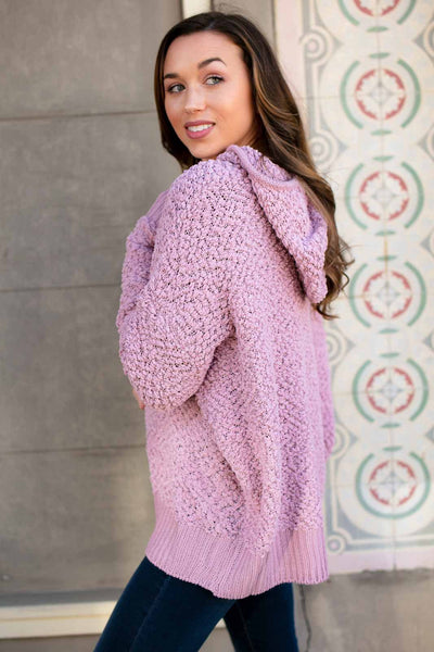 Tops Luxe Popcorn Hoodie Pullover Sweater in Mauve - Lotus Boutique