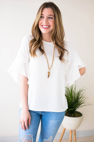 God's Plan Tulip Sleeve Blouse - Ivory