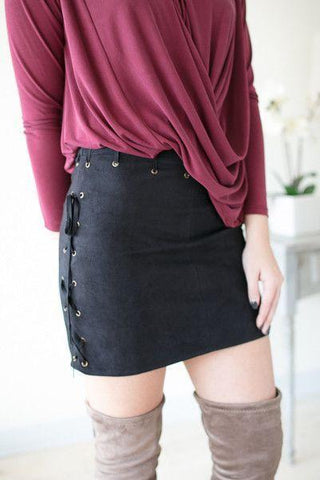 Steady Rock Lace Up Suede Skirt - Black