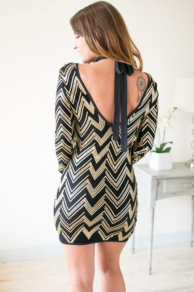 Dresses Stolen Dance T-Front Chevron Dress - Lotus Boutique