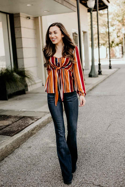 Tops Stripe Devotion Tie Front Rust Top - Lotus Boutique
