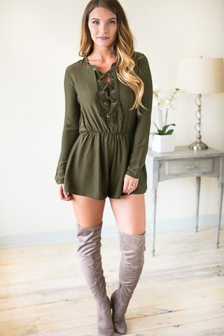 Fast Pace Lace Up Long Sleeve Romper - Olive