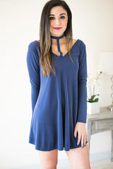 Tangy T-Front Choker Neck Dress - Navy