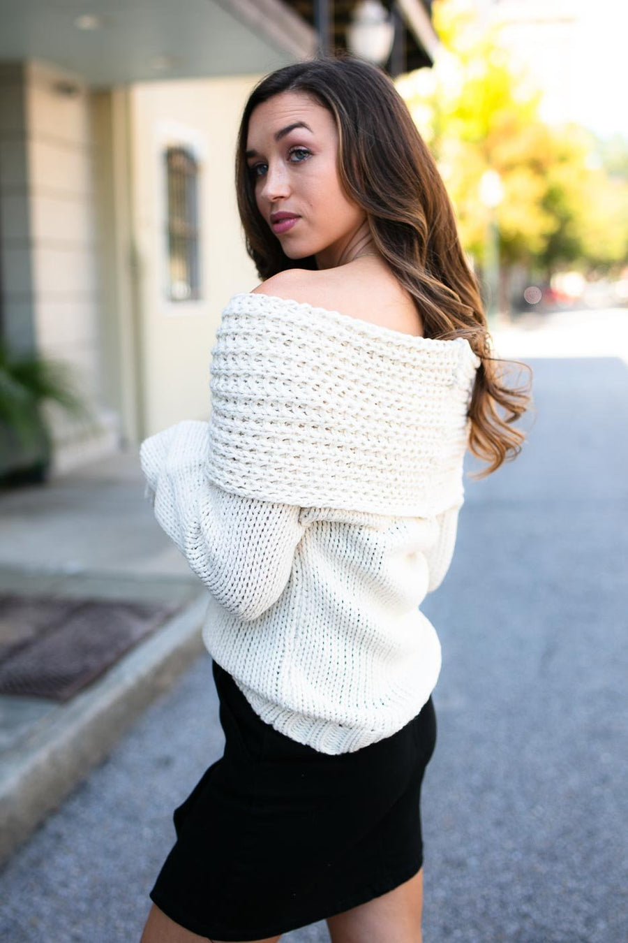 Tops The Peyton Cowl Neck Ivory Sweater - Lotus Boutique