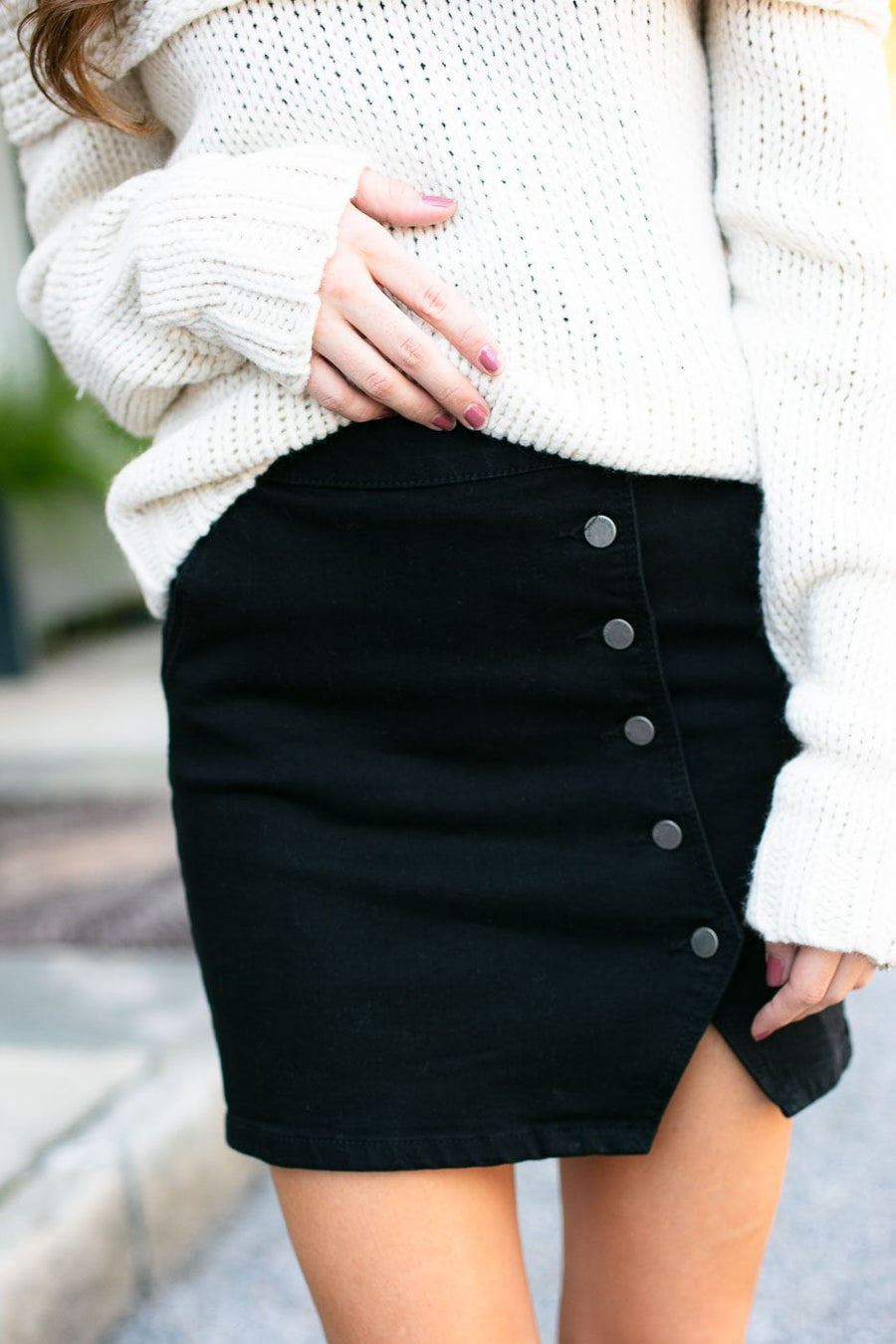 Bottoms Skylar Black Button Up Mini Skirt - Lotus Boutique