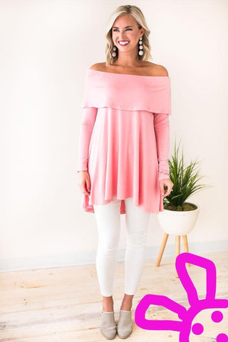 Look At Me Wow Off Shoulder Tunic - Pink