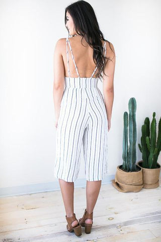 Get To Know Me Stripe Crop Jumpsuit