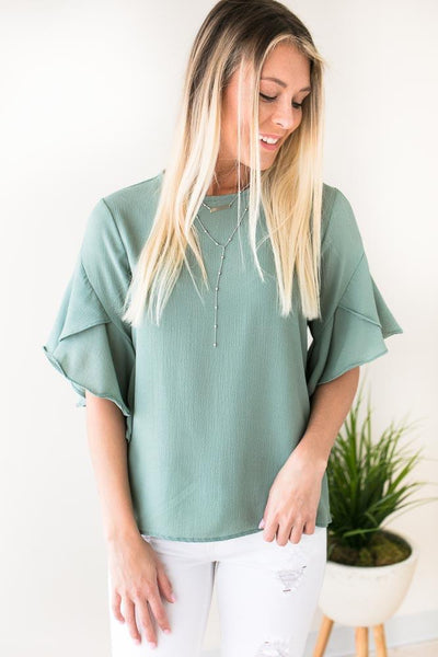 Tops God's Plan Tulip Sleeve Blouse - Sage - Lotus Boutique