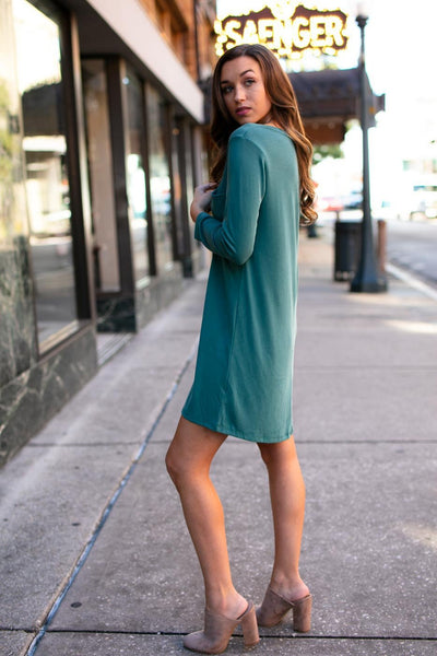 Dresses Last Laugh 3/4 Sleeve T-Shirt Dress in Hunter - Lotus Boutique