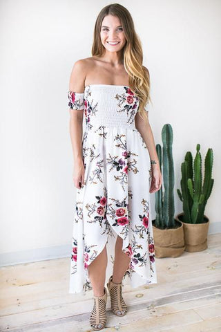 Off Shoulder Delight Floral Maxi Dress