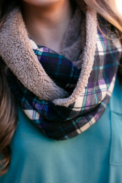 Accessories Keep Me Warm Plaid Infinity Scarf in Mocha - Lotus Boutique
