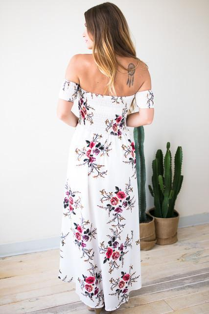 Off Shoulder Delight Floral Maxi Dress-Dresses-Lotus Boutique-Lotus Boutique