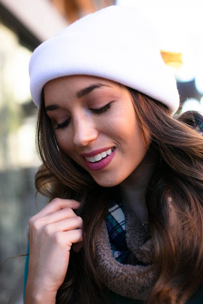 Accessories Winter White Basic Beanie - Lotus Boutique