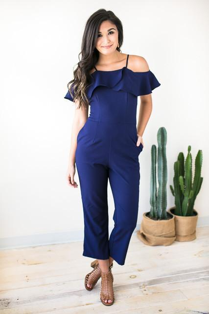 Whole Heart Navy Cold Shoulder Jumpsuit