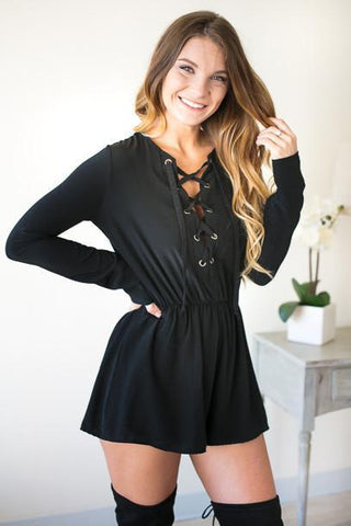 Fast Pace Lace Up Long Sleeve Romper - Black