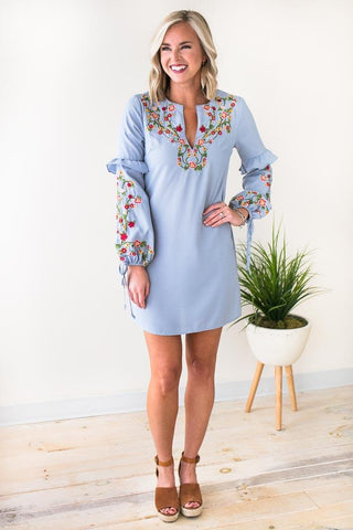Tale to Tell Floral Embroider Shift Dress