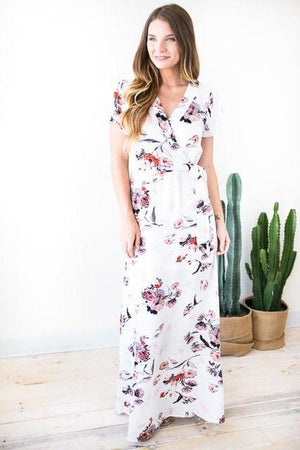 Among the Flowers White Floral Maxi Dress-Dresses-Lotus Boutique-Lotus Boutique