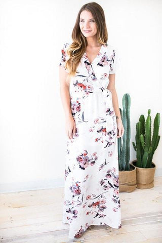 Among the Flowers White Floral Maxi Dress