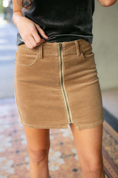 Bottoms Basically Belted Zip Up Mini Skirt in Camel Corduroy - Lotus Boutique