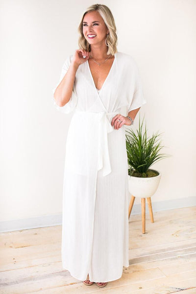 Dresses One Desire Silver Pinstripe White Maxi Dress - Lotus Boutique