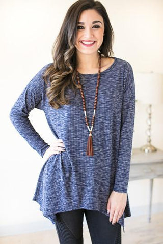 Going To Market Slate Blue Open Back Tunic