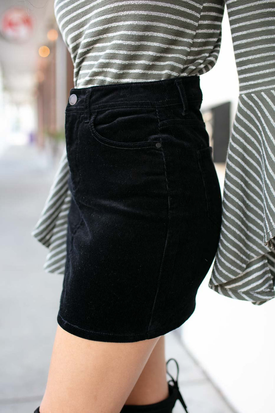 Bottoms The Classic Black Corduroy Skirt - Lotus Boutique