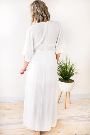 One Desire Silver Pinstripe White Maxi Dress-Dresses-Lotus Boutique-Lotus Boutique