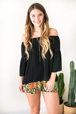 There For You Black Off Shoulder Top