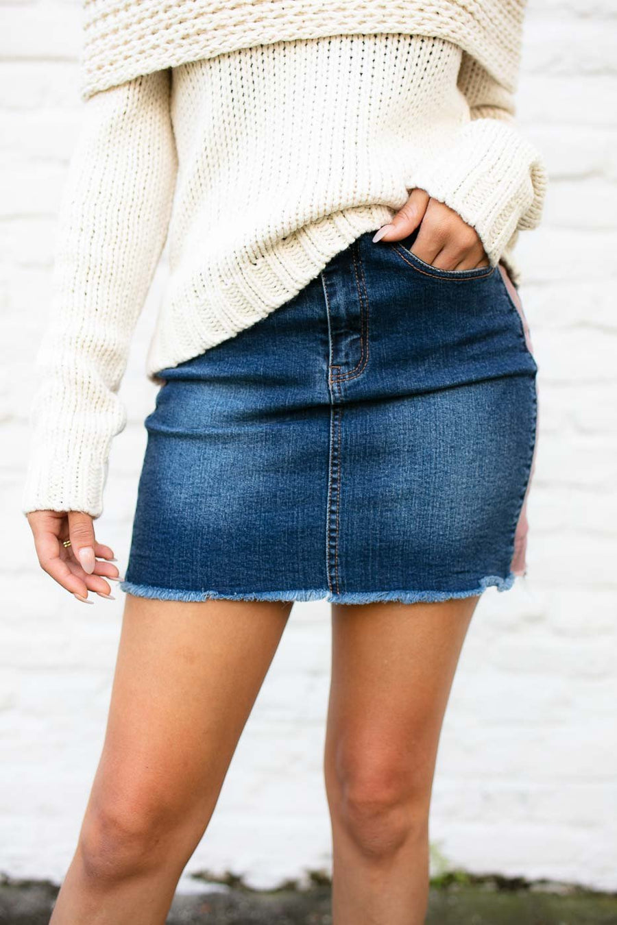 Bottoms Side Swiper Corduroy Side Panel Skirt - Lotus Boutique