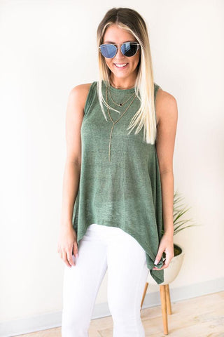 Beach Vibes Open Back Tank - Olive