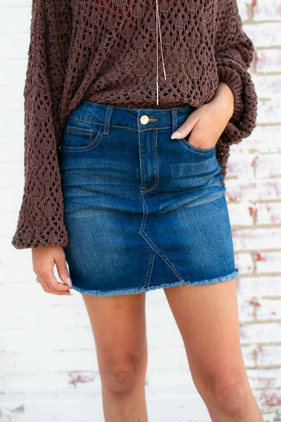 Golden Hour Denim Mini Skirt