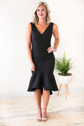 Encore Ruffle Hem Little Black Dress