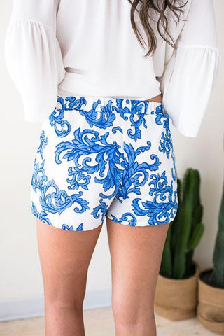 Now Or Never Blue Baroque Print Shorts