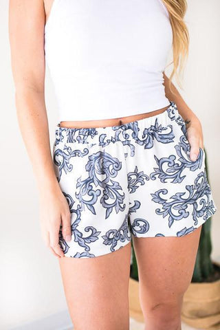 Lifestyle Baroque Print Shorts - Grey