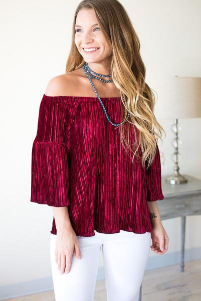 A Little Romance Velvet Off the Shoulder Top - Red