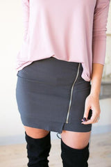 A Zipper In Time Skirt- Grey
