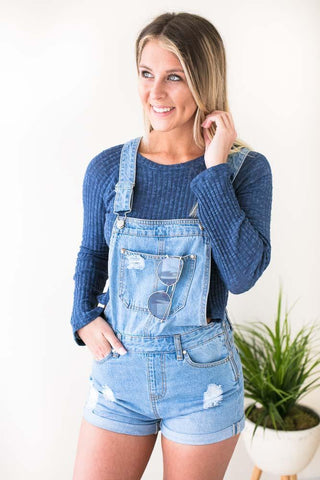 Meant to Be Light Wash Overalls