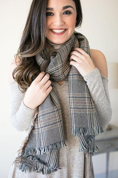 Accessories Cozier Than You Plaid Scarf - Lotus Boutique