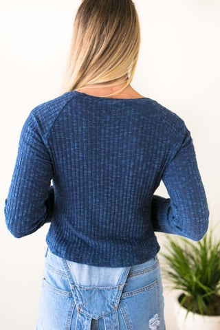 Kathryn Blue Ribbed Crop Top