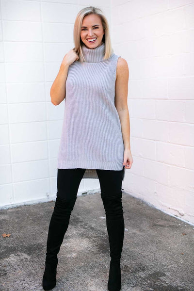 Tops Share the Love Sleeveless Sweater in Grey - Lotus Boutique