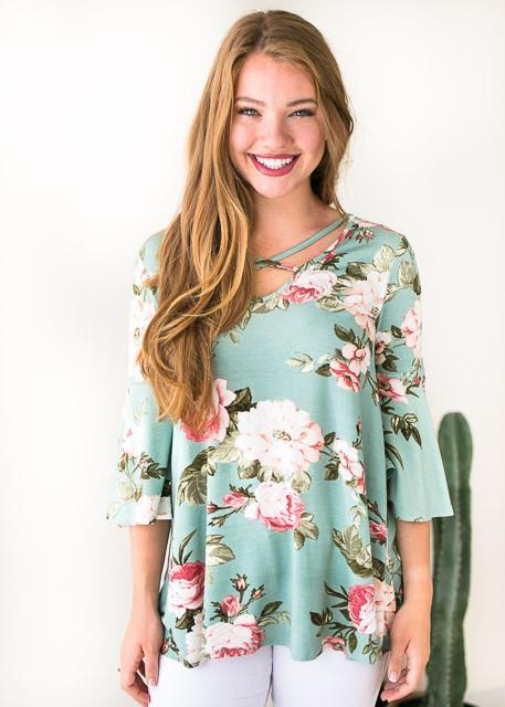 Love is Mystical Floral Cross Front Top