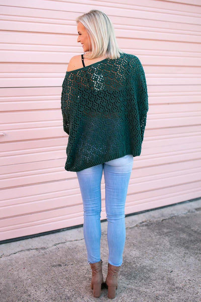 Tops Time for Coffee Emerald Open Knit Sweater - Lotus Boutique