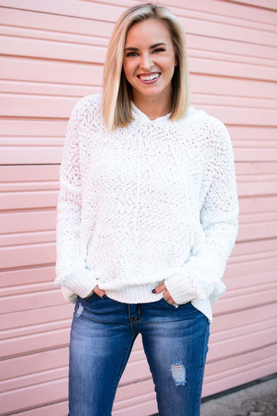 Tops Luxe Popcorn Hoodie Pullover Sweater in Ivory - Lotus Boutique